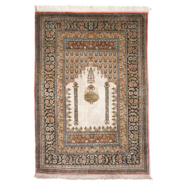 Qum Silk Prayer Rug Vintage