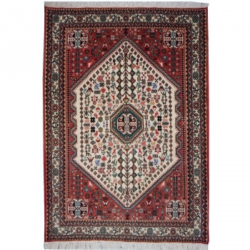 09332 Abadeh Teppich Beige Rot handgeknüpft 155 x 100 cm
