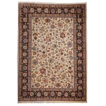 10795Chorasan Teppich Beige Blau Braun Wolle handgeknüpft 336 x 246 cm