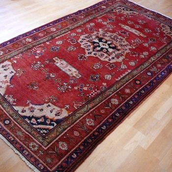 11227 Bidjar Teppich vintage Rot Beige Blau 267 x 132 cm