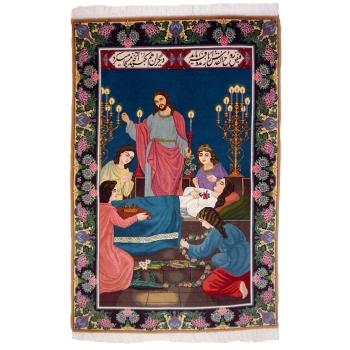 13270 Tabriz Bild Teppich 150 x 100 cm Bilderteppich 60 raj