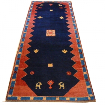 13361 Khersak Gabbeh Nomaden Teppich 280 x 108 cm Blau Rot Läufer