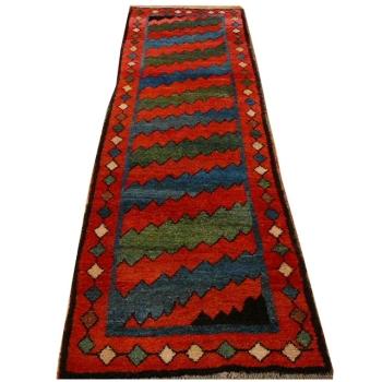 13490 Gabbeh Kazerun Läufer Teppich 308 x 85 cm Nomadenteppich