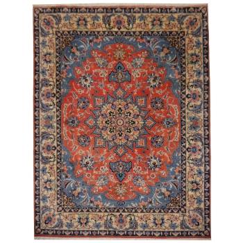 13566 Yazd Teppich 313 x 242 cm Lachs Beige Blau handgeknüpft Wolle