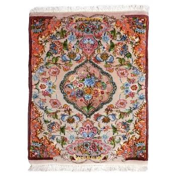 13914Täbriz Teppich 65 x 55 cm Wolle Seide handgeknüpft