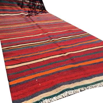 14694 Kelim Teppich Boho Style Ethno Design 280 x 110 cm