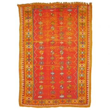14741 Taznakht vintage rug Morocco 4.8 x 3.3 ft / 146 x 100 cm Worn to perfection