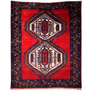 14867 Afshar Sirjan rug 6.3 x 5.0 ft / 190 x 150 cm vintage carpet red, blue, beige