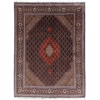 14941 Täbriz Mahi 50 Raj Teppich 210 x 150 cm mit Seide, Schwarz Rot Beige Olive Blau