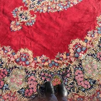 14942 Kerman Ravar Lavar Rug 13.5 x 10 ft / 405 x 315 cm red, blue, green, beige, worn to perfection