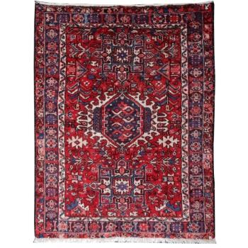 14955 Karaja Heriz vintage rug 5.0 x 3.8 ft / 150 x 115 cm red blue pink beige worn to perfection