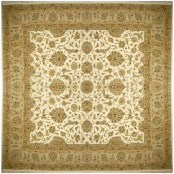 15134 Rajput Premium Ziegler Teppich beige grün quadratisch 250 x 250 cm handgeknüpft