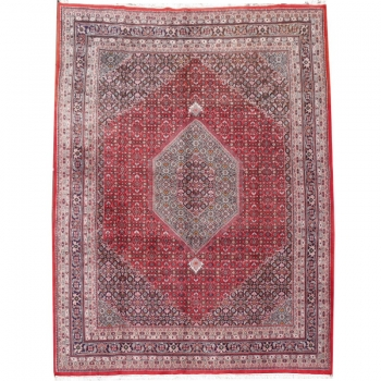 15374 Bidjar vintage Indien 387 x 305 Wolle handgeknüpft Rot Blau
