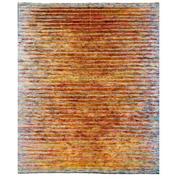 15489 Design Teppich Tiger 365 x 269 cm Sari Seide Blau Beige Gelb Pink Modern handgeknüpft