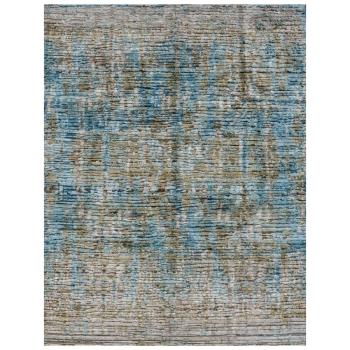 15512 Moderner Design Teppich Ocean Silk handgeknüpft 300 x 250 cm Türkis Beige Seide