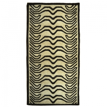15696 Tibetan rug Tiger 6 x 3 ft hand-knotted Beige Brown