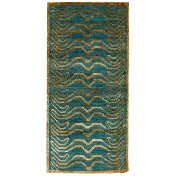 15701 Tibet Teppich Tiger 180 x 90 cm echte Seide Gold Wolle Smaragd Grün handgeknüpft