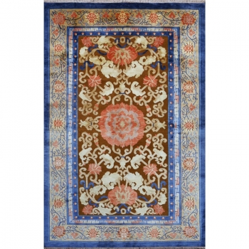 15730-1 Imperial Silk Rug China hand-knotted 8 x 5.3 ft brass rose blue
