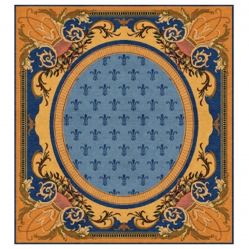 15727 Spanish Art Nouveau design rug 8.4 x 8 ft wool blue gold hand-knotted