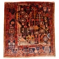 Mobile Preview: 14455 Nahavand vintage wagierh sampler rug Iran / Persia 3.6 x 3.3 ft / 110 x 100 cm