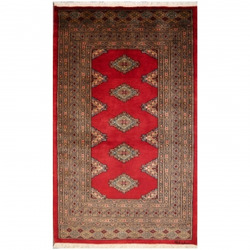 13599 Buchara Teppich Pakistan 160 X 97 Cm Rot Grau Beige