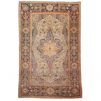 13931 Mohtasham Kashan antique rug 6.8 x 4.4 ft / 208 x 135 cm