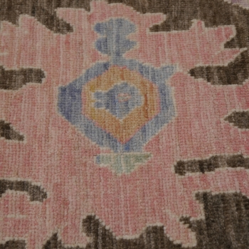 15576 8 x 10 ft Oushak Rug Vintage Look hand knotted Brown Blue Pink Wool