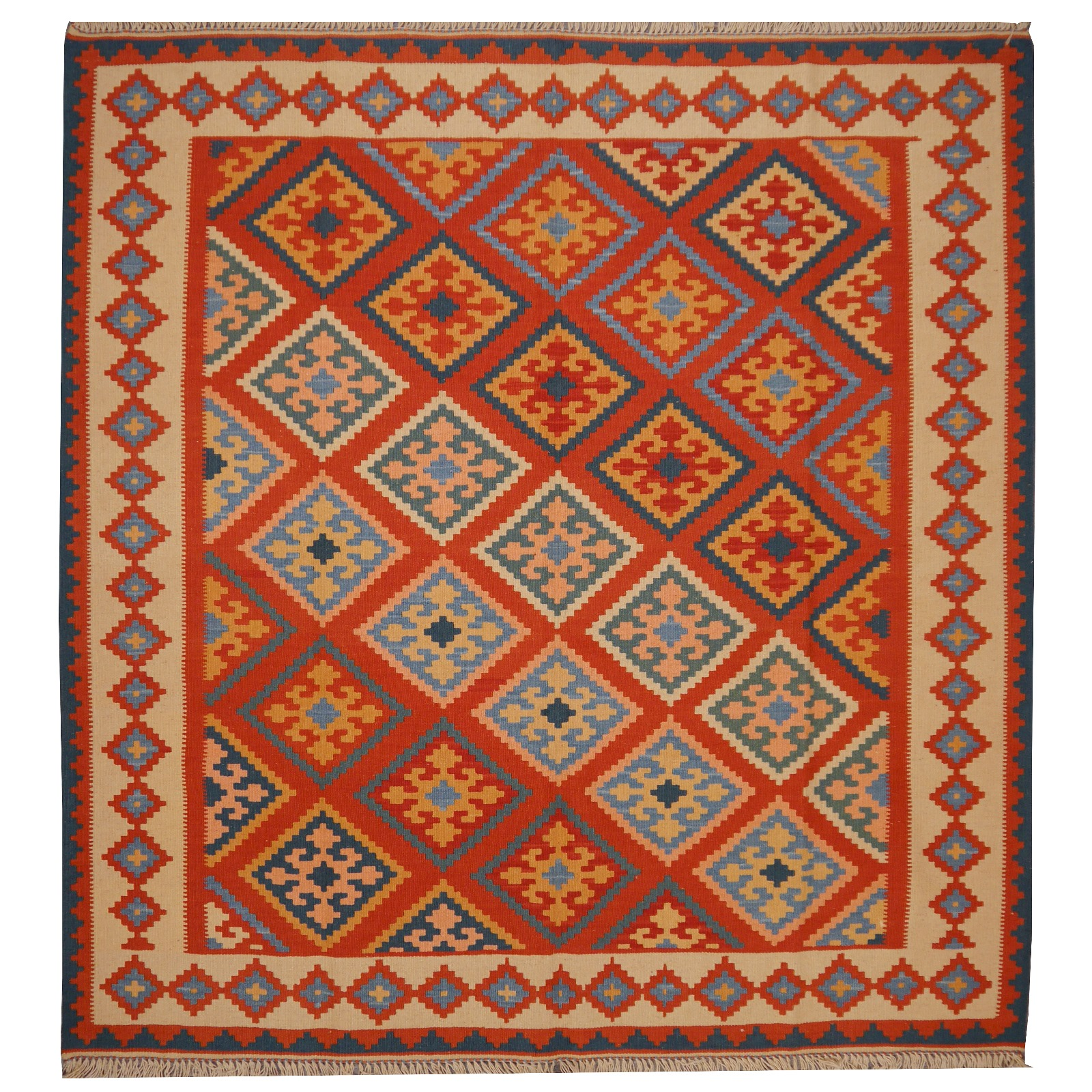12517 kilim rug iran persia 4 9 x 4 6 ft 149 x 141 cm persian rugs oriental rugs silk. Black Bedroom Furniture Sets. Home Design Ideas