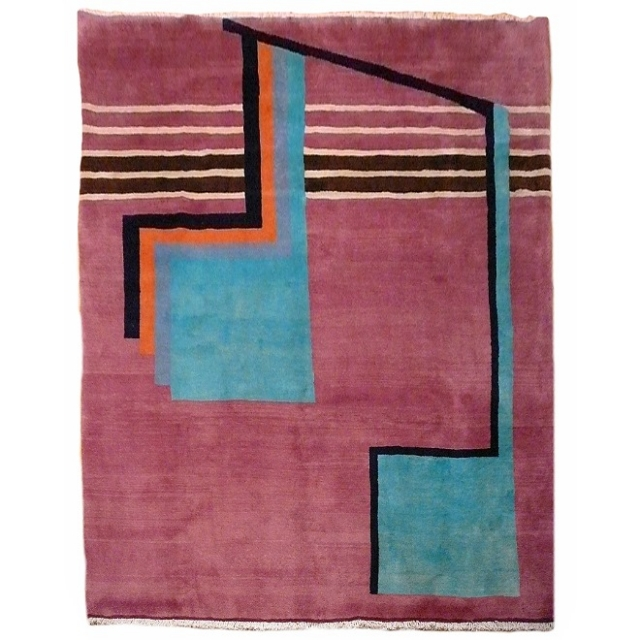 09534 Sultanabad Art Deco vintage rug 8.3 x 6.6 ft / 254 x 200 cm
