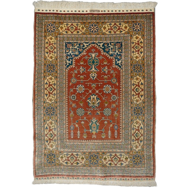 09846 Ozipek Hereke Silk Rug 3.4 x 2.4 ft - 101 x 72 cm