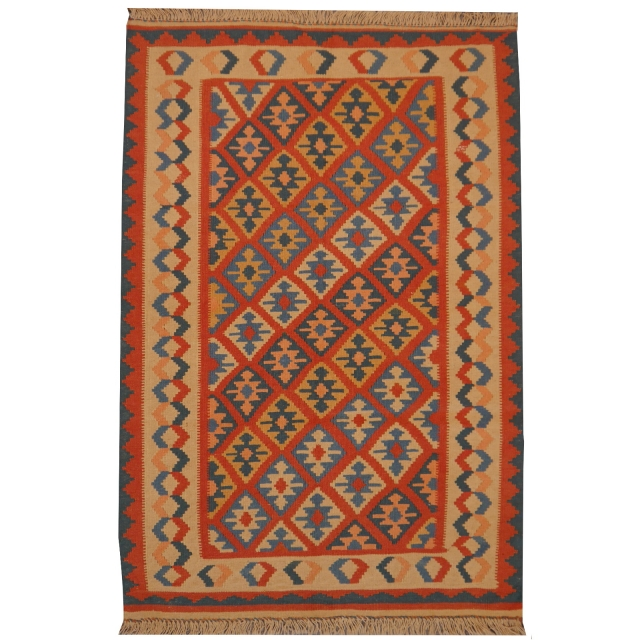 12537 Kilim persian rug 3.9 x 2.6 ft / 120 x 80 cm