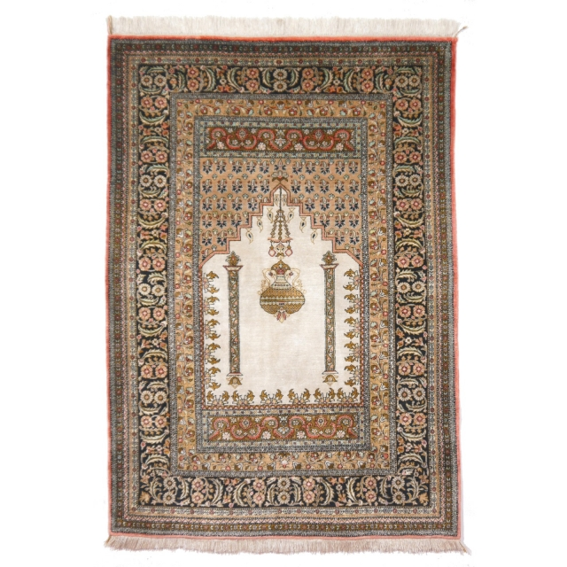 Ghom Seide Teppich Iran / Persien 158 x 105 cm Seidenteppich