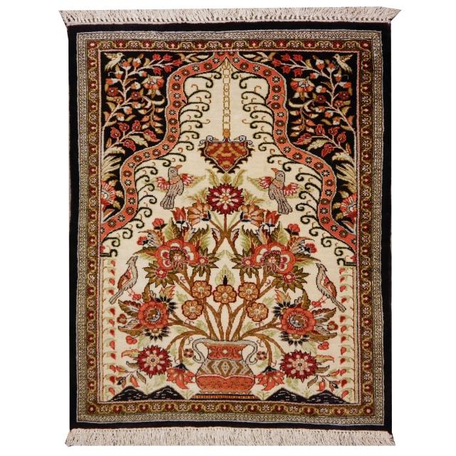 Persian Rug Los Angeles: Qum Silk Persian Rug Prayer Carpet 2.3 X 2.1 Ft / 70 X 65 Cm