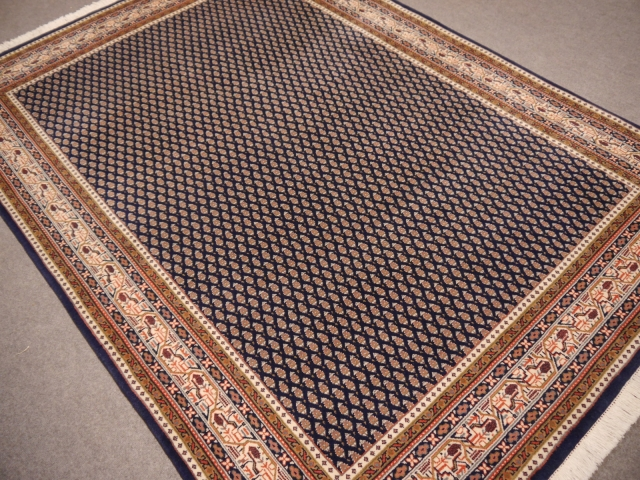 14121 Sarouk Mir rug India 7.7 x 5.5 ft - 235 x 168 cm blue beige