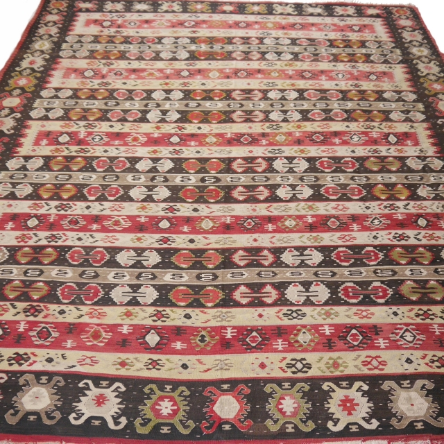 14327 Sarkoy Kilim antique rug 9.4 x 7.9 ft - 285 x 242 cm Old Sarkoy / Piroter Kelim from the Serbian-Bulgarian border area. Rare Sarkoy Pirot piece of a fine quality and for the age in very good condition. Sarkoy Keilim are known for their unique design
