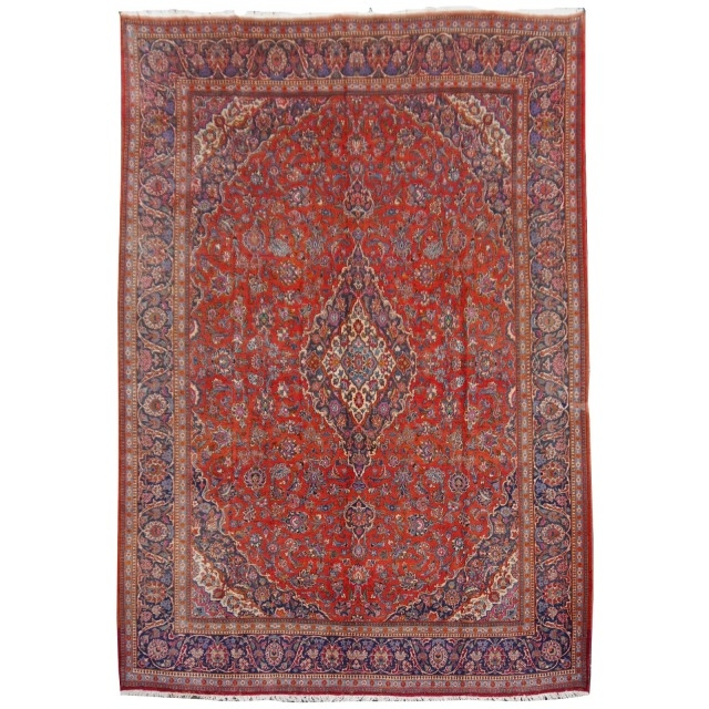 14 x 10 ft Antique rug Kashan 14 x 11 ft