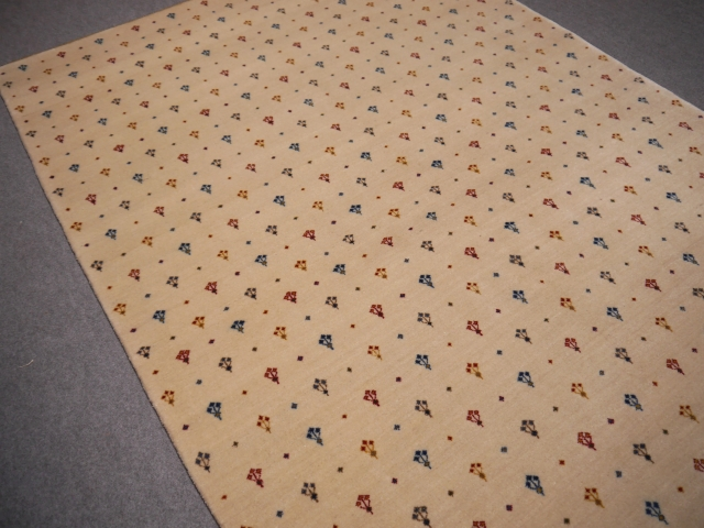 14338 Loribaft rug India 7.7 x 5.6 ft / 236 x 170 cm beige wool tribal design