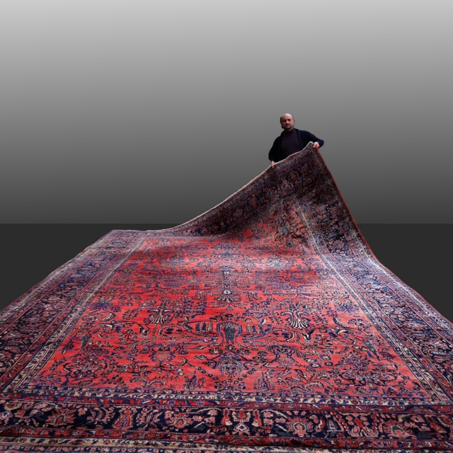 14682 Sarouk Mohajeran oversized antique rug 19 x 12 ft / 565 x 360 cm