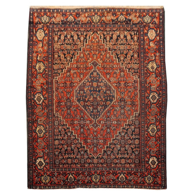 14826 Senneh Antique rug 4.9 x 3.7 ft / 146 x110 cm Rug Worn to perfection