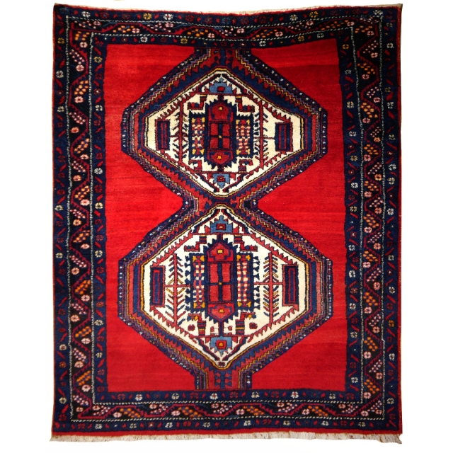 14867 Afshar Sirjan rug 6.3 x 5.0 ft / 190 x 150 cm vintage carpet red, blue, beige