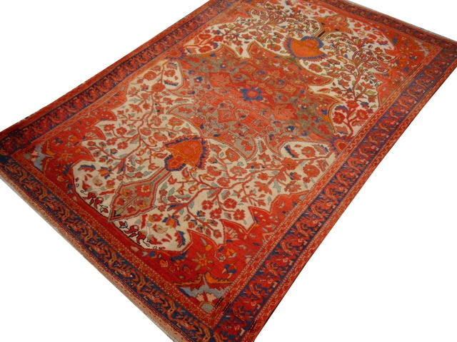 14953 Malayerworn to perfection  antique rug 6.3 x 4.4 ft / 188 x 133 cm Beige Red Green