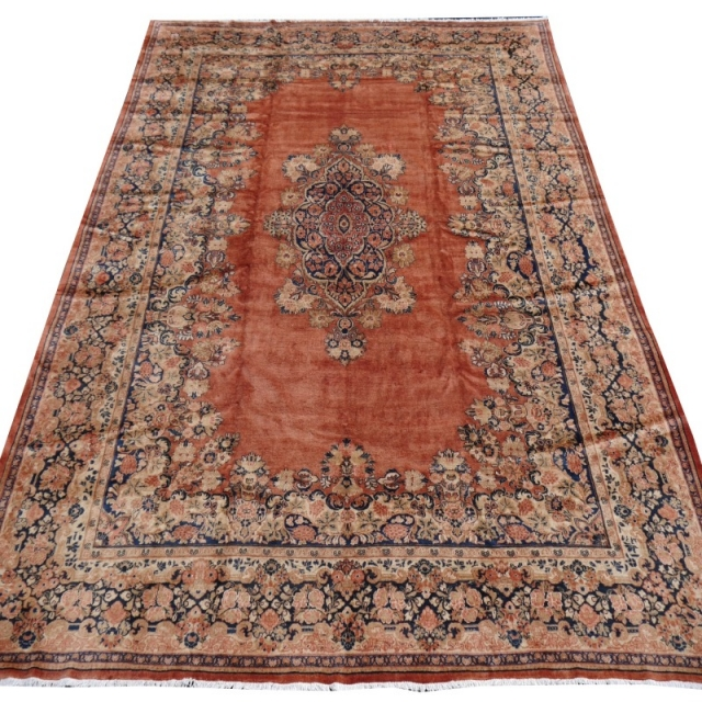 15053 Sarouk Mahal vintage rug 18 x 13 ft / 540 x 380 cm Brown Rose Beige Blue