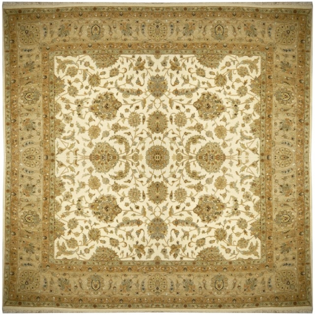 15134 Rajput Ariana Ziegler rug beige green brown square 8.2 x 8.2 ft hand knotted