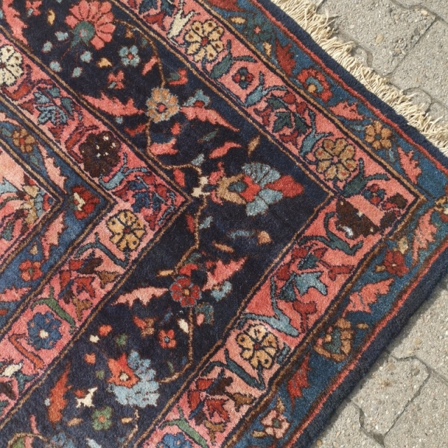 15199 Sarouk oversized antique rug 21 x 13 ft / 645 x 390 cm pink rose blue green