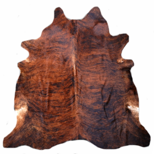 15220 Cowhide Rug XL Premium 7.2 x 7.2 ft cm Tiger Brown Darkbrown