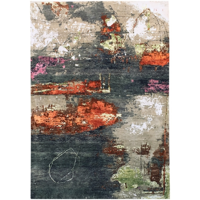 15498 Modern Design Rug Anastasia hand knotted 8.0 x 5.6 ft abstrakt Wool Bamboo Silk