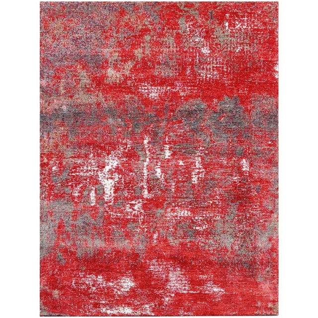 15499 Modern Design Rug Anastasia hand knotted 8.0 x 5.6 ft abstrakt Wool Bamboo Silk