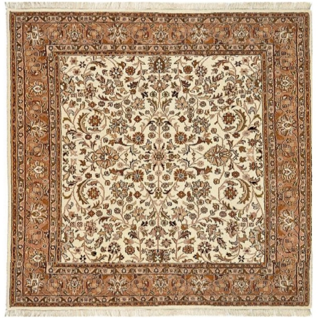 27201 Akbar carpet beige brown square 8.2 x 8.2 ft hand-knotted, wool