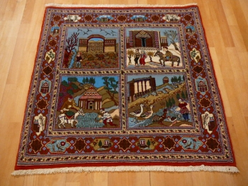 13639 Qum Rug four seasons 3.3 x 3.3 ft / 101 x 101 cm