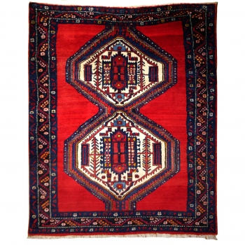 14867 Afshar Sirjan persian rug 6.3 x 5.0 ft / 190 x 150 cm vintage carpet red, blue, beige